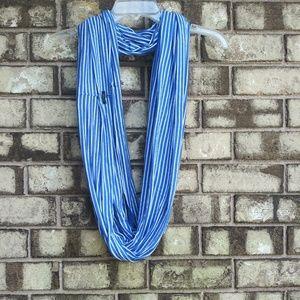 J.Crew blue and white stripe infinity scarf